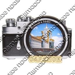 Магнит Фотоаппарат с зеркальной фурнитурой и символикой Саранска