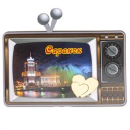 Магнит Телевизор с зеркальной фурнитурой и символикой Саранска