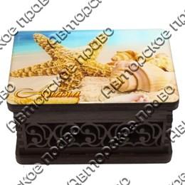 Шкатулка малая резная со смолой Ракушки вид 2 с символикой Вашего города