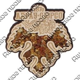 Магнит с янтарем Виноградный лист с символикой Абрау-Дюрсо