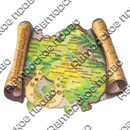 Магнит с оттиском Карта Вашего региона, края или области с зеркальной фурнитурой