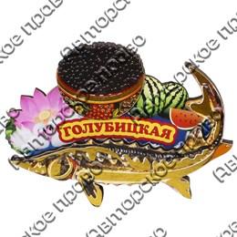 Магнит Осетр с чашкой черной икры и символикой Голубицкой