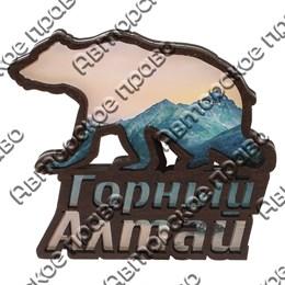 Магнит контурный Медведь вид 2 с символикой Горного Алтая