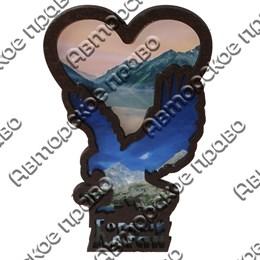 Магнит контурный Орел с сердцем и символикой Горного Алтая