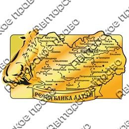 Магнит зеркальный Карта с волком и символикой Горного Алтая