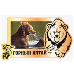 Магнит зеркальный с картинкой Медведь с символикой Горного Алтая