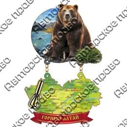 Магнит качели Медведь с картой и зеркальной фурнитурой и символикой Горного Алтая