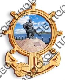 Магнит с гравировкой Якорь и штурвал с символикой города Рыбинск