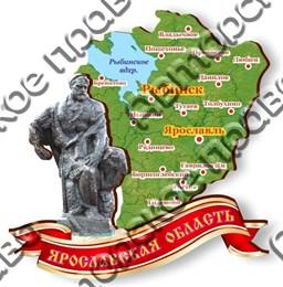 Магнитик Карта Ярославской области Памятник Бурлаку город Рыбинск