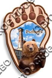 Магнитик Лапа медведя с символикой Рыбинска