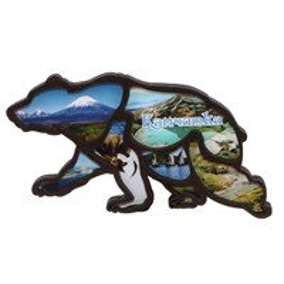 Магнит на холодильник силуэт Медведь вид 1 с символикой Камчатки