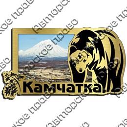 Магнит на холодильник зеркальный с картинкой Медведь вид 2 с символикой Камчатки