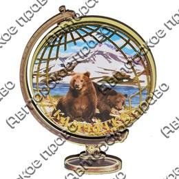 Сувенирный магнит Глобус с видами Камчатки