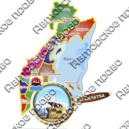 Сувенирный магнит Карта с лупой с достопримечательностями Камчатки