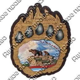 Магнит на холодильник Лапа медведя со смолой и символикой Камчатки