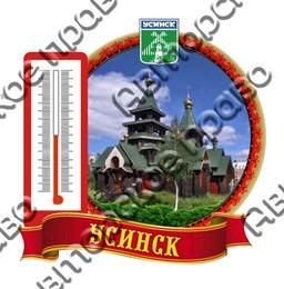 Сувенирный магнит Достопримечательности в круглой рамке с термометром Усинск