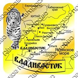 Магнит зеркальный комбинированный Карта с тигром вид 1 с символикой Владивостока