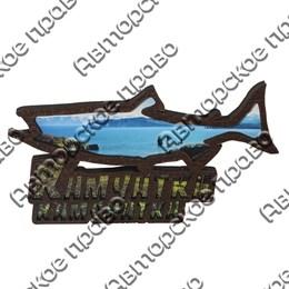 Магнит на холодильник силуэт рыбы с символикой Камчатки