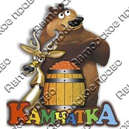 Магнит на холодильник Медведь с оленем и символикой Камчатки