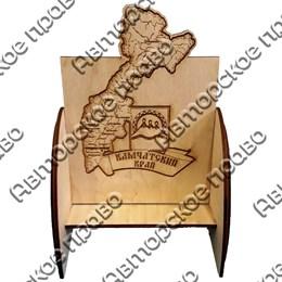 Визитница деревянная Карта с символикой Камчатки