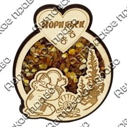 Сувенирный магнит с янтарем с символикой Норильска вид 1
