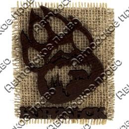 Сувенирный магнит на мешковине Лапа медведя с символикой Норильска