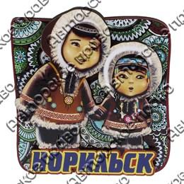 Магнит сувенирный Этно детки с символикой Норильска