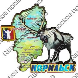 Сувенирный магнит Карта с оленем и символикой Норильска