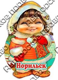 Сувенирный магнит Этно девочка с символикой Норильска