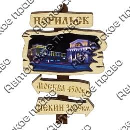 Магнит сувенирный Указатель с гравировкой и символикой Норильска