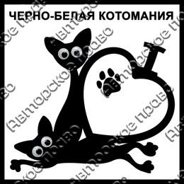Магнит черно-белый с подвижными глазками Котейки вид 39