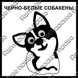 Магнит черно-белый Собакены вид 9