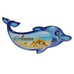 Магнит сувенирный со смолой Дельфин с символикой Вашего города