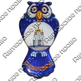 Магнит сувенирный со смолой Сова с символикой Вашего города