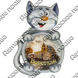 Магнит сувенирный со смолой Кот вид 1 с символикой Вашего города