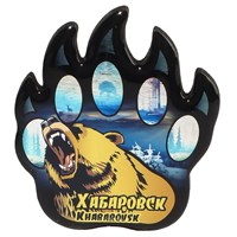 Магнит сувенирный со смолой Лапа медведя с видами, достопримечательностями или символикой Вашего города