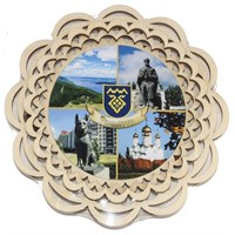 Сувенирный магнит Тарелочка с символикой Тольятти