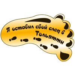 Сувенирный магнит зеркальный След с символикой Тольятти