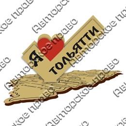 Визитница деревянная Лайк с картой и логотипом Тольятти