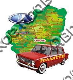 Магнит сувенирный Карта с авто и символикой Тольятти