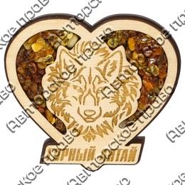 Магнит с янтарем Волк в сердце с символикой Вашего города