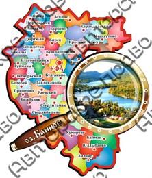 Сувенирный магнит Карта с лупой и символикой Банное
