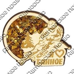 Сувенирный магнит с янтарем Сноубордист с символикой озера Банное