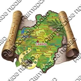 Магнит сувенирный 2-хслойный с зеркальной фурнитурой Карта с символикой Тольятти