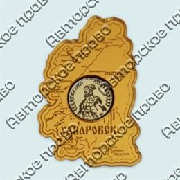 Купить магнитик зеркальный комбинированный золотая карта с монетой