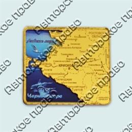 Купить магнитик зеркальный с картинкой золотая рамка с картой региона южное побережье