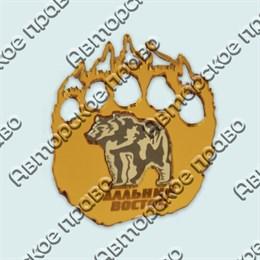 Купить магнитик зеркальный комбинированный золотой след с медведем