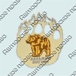 Купить магнитик зеркальный комбинированный серебряный след с медведем