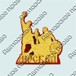 Купить магнитик зеркальный многослойный памятник вашего города золотой на красной подложке