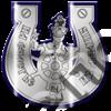 Магнит Подкова с капитаном и названием Вашего города зеркальный серебро-синий - фото 36748